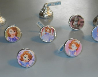 Sofia Princess Hershey Kiss Stickers Labels Goody Bag Birthday party thank you treats the First