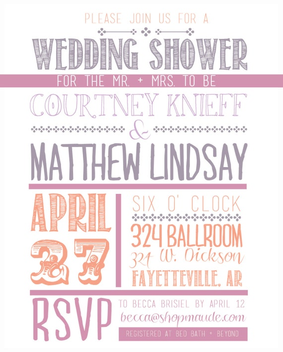 Items Similar To Font Fun Wedding Shower Invitation On Etsy