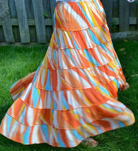 maxi skirt fall summer colorful skirt orange