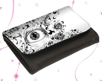 "Leather wallet purse ""Eyes"""
