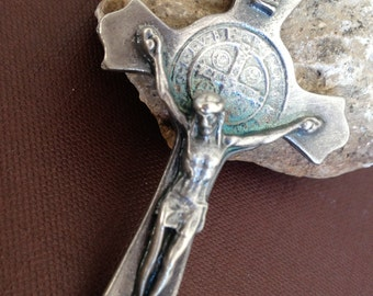 "St Benedict medal Cross oxidized silver finish from  Italy / CRuz de San Benito/ large cross over 3"" inches tall"