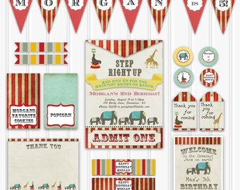 Vintage Circus Birthday Party Set, Custom Circus Birthday Kit, Printable Circus Birthday, INSTANT DOWNLOAD, Kids Circus Birthday Decorations