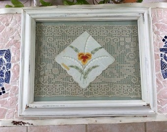 Cottage Chic Framed Handkerchief