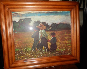 VINTAGE PRINT of CHILDREN in a Field of Flowers
