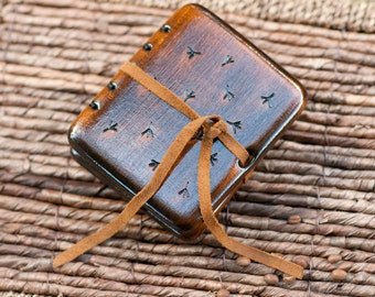 Handmade wooden mini journal / custom carved ornament  / made to order
