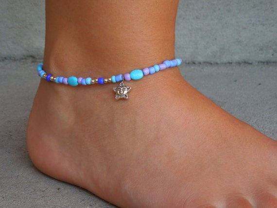 Turquoise colored oval beaded Anklet Summer Fun Ankle