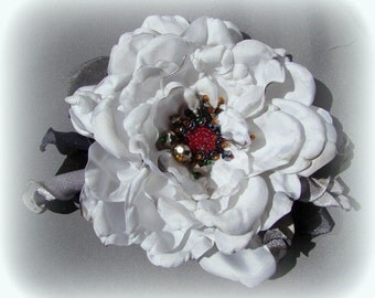 Handmade satin flower brooch rose brooch handmade white rose flower clip & pin