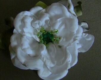 Handmade white satin flower brooch flower clip