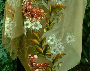 Natural silk shawl - floral, rowan-tree beige hand painted scarf