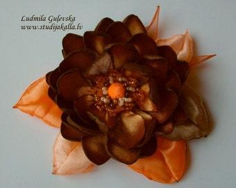 Handmade bronze-brown-salmon satin flower brooch, flower clip & pin, embroidered flower