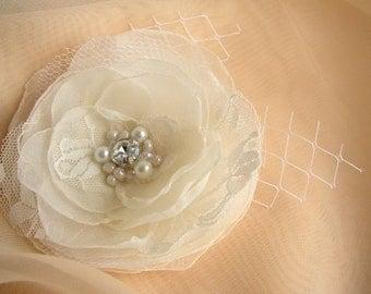 Ivory White Wedding Flower - Lace Hair Piece - Bridal Hairpiece - Pearls Rhinestone Fascinator - Wedding Hair Clip -  White Hair Accessories