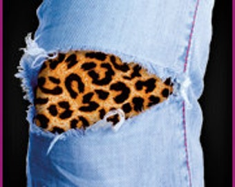 The easy to apply Leopard Print Patch for your torn Jeans