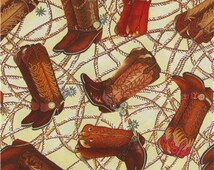 Boot Scootin Boogie Cowboy Boots with Rope fabric -  100% Cotton Quilting Apparel Crafts Home decor