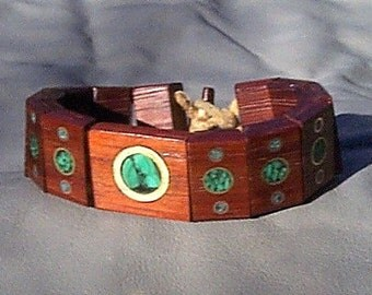 Padook wood inlay Bracelet with Malachite brass and copper inlay