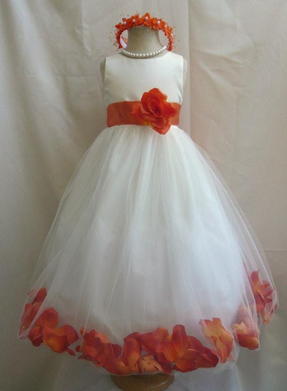 Flower Girl Dresses IVORY With Orange Burnt Rose Petal Dress FD0PT
