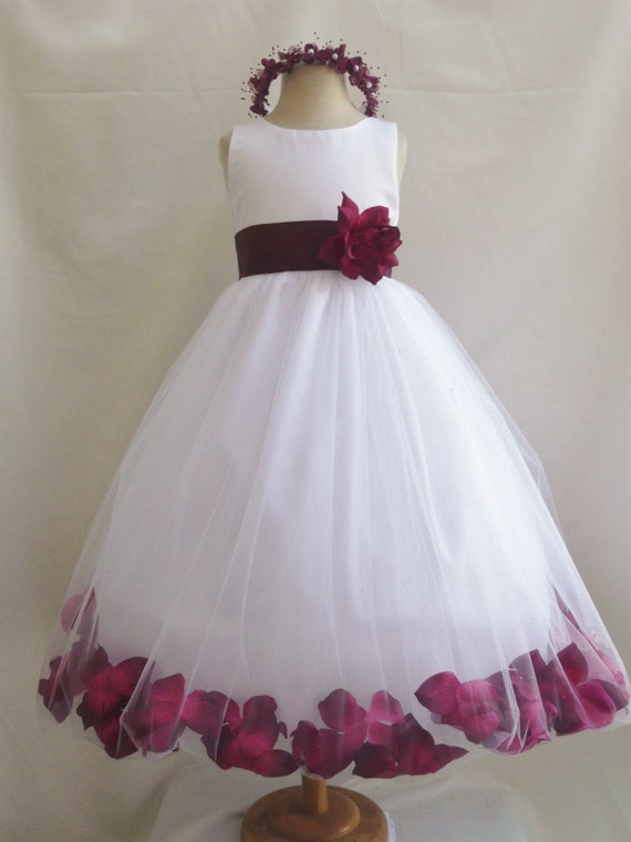 Flower Girl Dresses WHITE with Burgundy Rose by ...