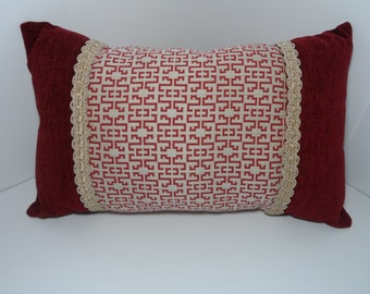 19x12 Cranberry Throw Pillow in a Contemporary Design with Elegant Tan Lacing