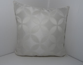 18 x 18 Off White Decorative Pillow Cover in a Light Floral Design