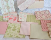 Shabby chic pink and green variety card set with box