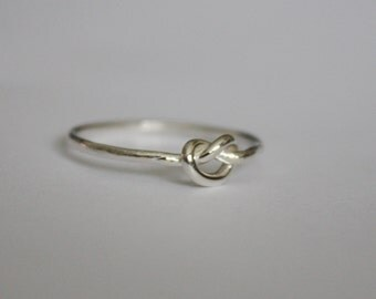 Silver Love Knot Ring, Thin Silver Stacking Ring, Sterling Silver Knot Ring, Promise Ring, Friendship