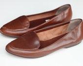 Vintage 'Unisa' Brazilian tan leather flats Size EU38 US8 UK5