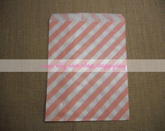Coral Striped Paper Treat Bags 25 Light Pink Candy Buffet Party Favor Wedding Favor - 5 x 7 Medium Goodie Bags
