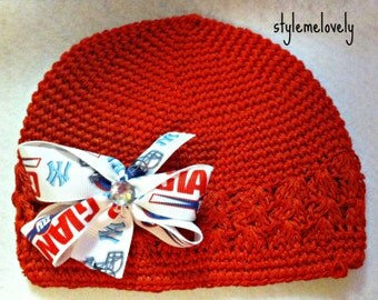 New York Giants Bow Baby Girl Crocheted Hat