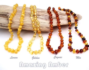 Genuine  Baltic Amber Teething Necklace. Polished  Rounded Beads.