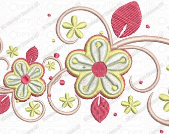 Spring Flower Swirl Fleur Embroidery Design in 4x4 5x5 and 5x7 Sizes