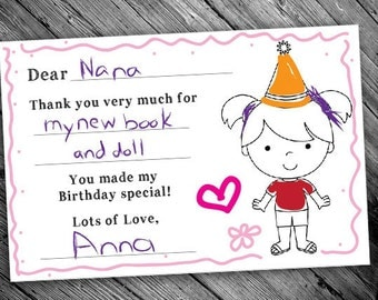 Printable Birthday Thank You Cards for Girls - Color Your Own!