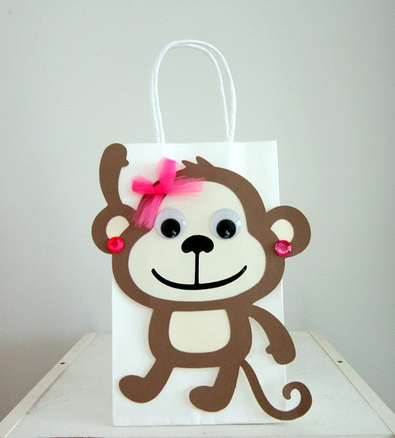 Monkey Baby Shower Party Favors: Girl Monkey Party Favor Goody Gift Bags Monkey By CraftyCue