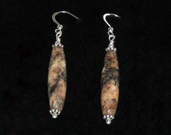 Golden Feldspar and Sterling Silver Earrings