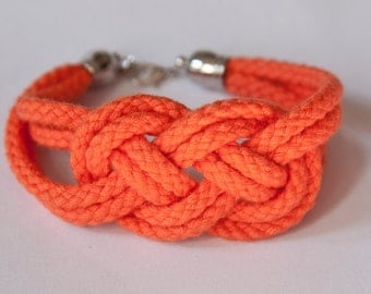 ON SALE! Sailor knot rope bracelet - bridesmaids / friend / bridal shower gift (orange)