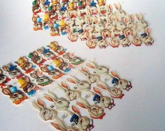 Combo Pack of Vintage Easter Bunny England Die Cut Paper Scraps 72 total