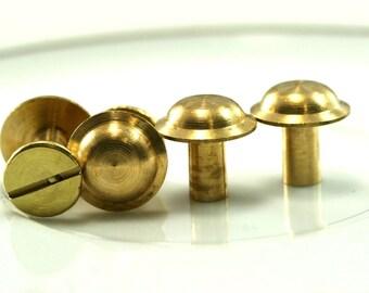 "10 pcs 9 x 11 mm raw brass studs, screw rivets, chicago screw / concho screw, unusual steampunk finding, 1/8"" bolt CSC6"