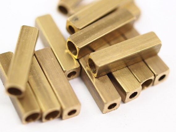 Square End Cap 6 Pcs Raw Solid Brass 20 x 5 mm (hole 4.1 mm 2.5 mm) industrial brass Charms