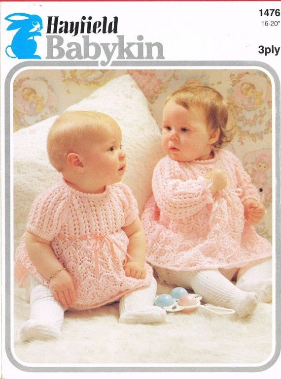 Hayfield Knitting Patterns For Babies : Items similar to Hayfield 1476 baby dress lettuce leaf pattern vintage knitti...
