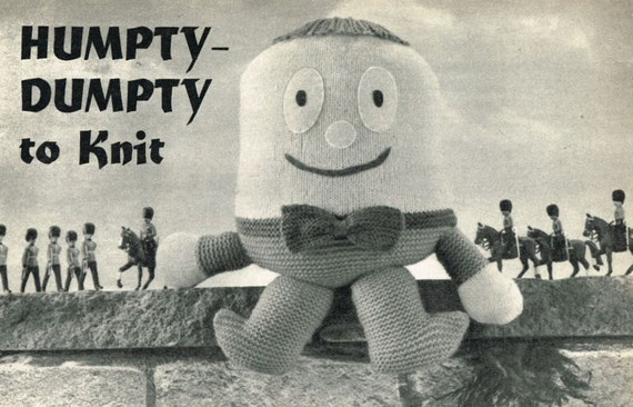 Knitting Pattern For Humpty Dumpty : Humpty Dumpty vintage toy knitting pattern PDF instant