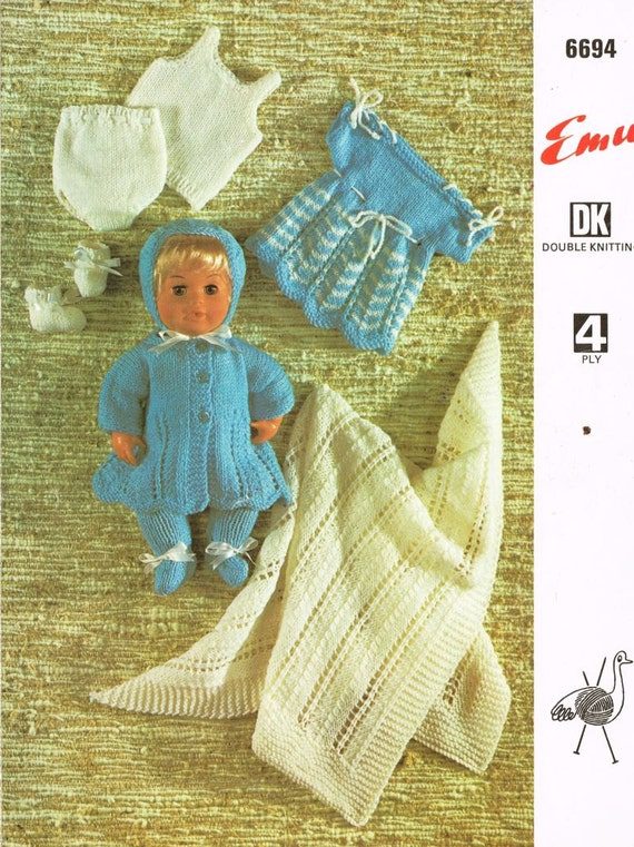 Tiny Tears Knitting Patterns : tiny tears dolls matinee coat and dress set for 12 inch doll
