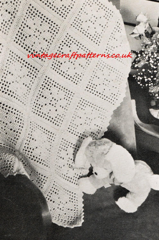 Vintage Crochet Patterns Baby Blankets : Filet Flower crochet baby blanket pram vintage crochet pattern