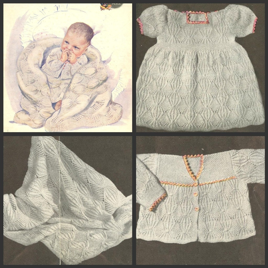 Vintage Knitting Patterns For Baby : Jester Layette vintage baby knitting pattern shawl PDF