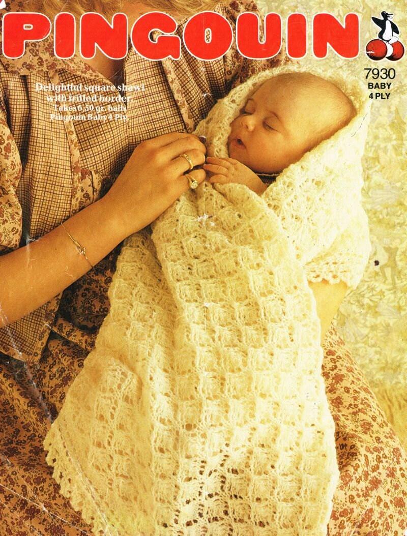Free Knitting Pattern Cowl : Pingouin 7930 baby christening shawl vintage by Ellisadine on Etsy