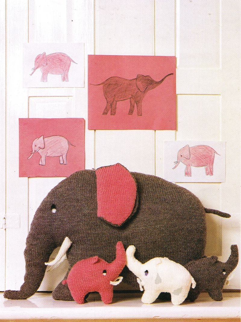 Elephant cushions toy knitting pattern vintage PDF instant