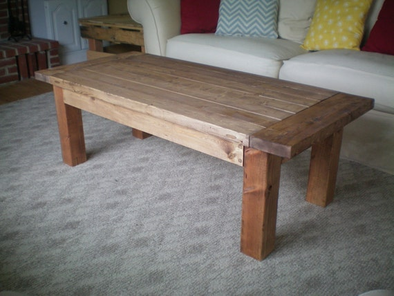 Items Similar To Rustic Farm House Coffee Table Warm Walnut On Etsy
