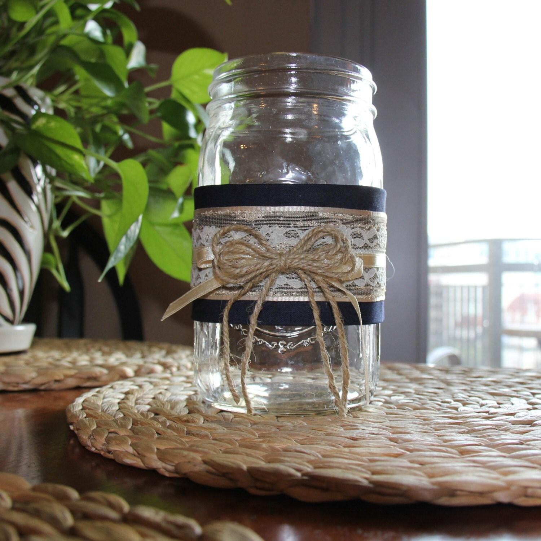 Beach Wedding Ideas Mason Jars: Set Of 5 Rustic Lace And Burlap Twine Quart Sized Mason Jars