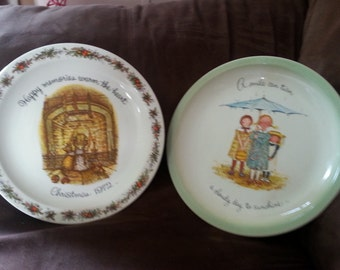 Set of 2 Vintage Holly Hobbie collectible plates 1972