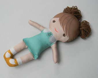 Organic cotton satteen doll, brunette, handmade Lulu