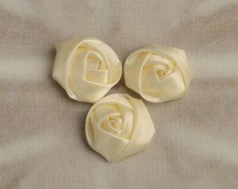 "Small 1.5"" Ivory Satin Rosettes, Wholesale Flowers, Satin Flowers, Rolled Flower, Satin Rose, Fabric Flower"