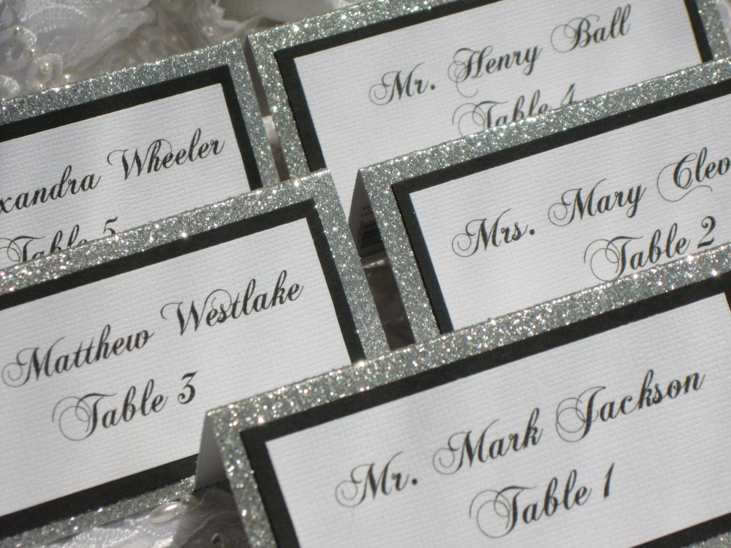 Name Card: Silver Glitter Tented Place Cards Escort Cards Name Cards