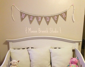 BABY NAME and Lace Burlap Banner, Bunting, Garland, Pennant, Photo Prop, Baby Decor, Nursery Decor, Home Decor